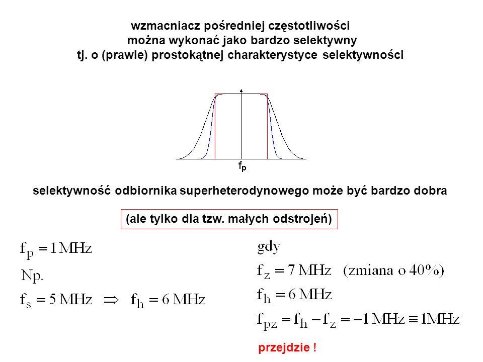 wzmacniacz pośredniej częstotliwości można wykonać jako bardzo selektywny tj. o (prawie) prostokątnej charakterystyce selektywności selektywność odbio