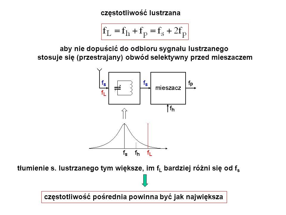 częstotliwość lustrzana aby nie dopuścić do odbioru sygnału lustrzanego stosuje się (przestrajany) obwód selektywny przed mieszaczem tłumienie s. lust