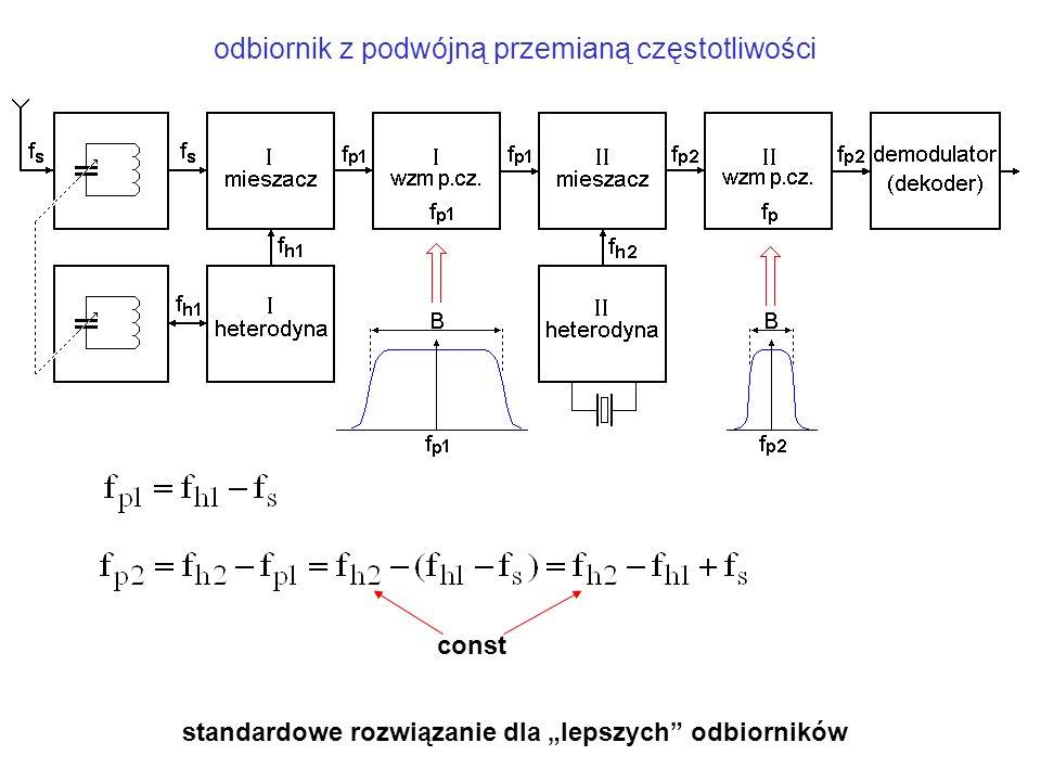 """odbiornik z podwójną przemianą częstotliwości const standardowe rozwiązanie dla """"lepszych"""" odbiorników"""