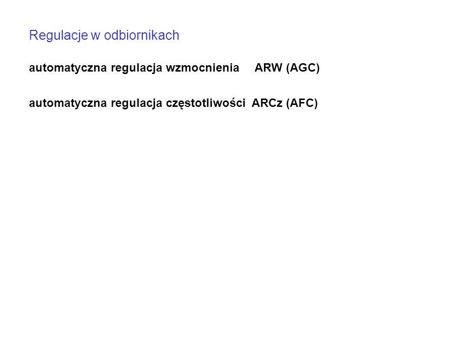 Regulacje w odbiornikach automatyczna regulacja wzmocnienia ARW (AGC) automatyczna regulacja częstotliwości ARCz (AFC)