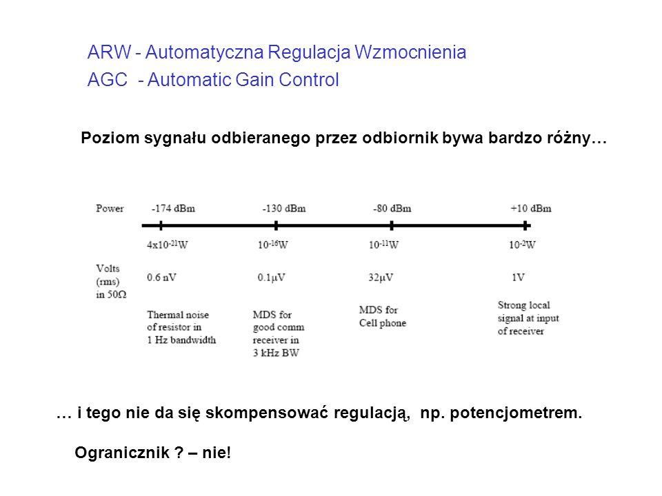 ARW - Automatyczna Regulacja Wzmocnienia AGC - Automatic Gain Control Poziom sygnału odbieranego przez odbiornik bywa bardzo różny… … i tego nie da si