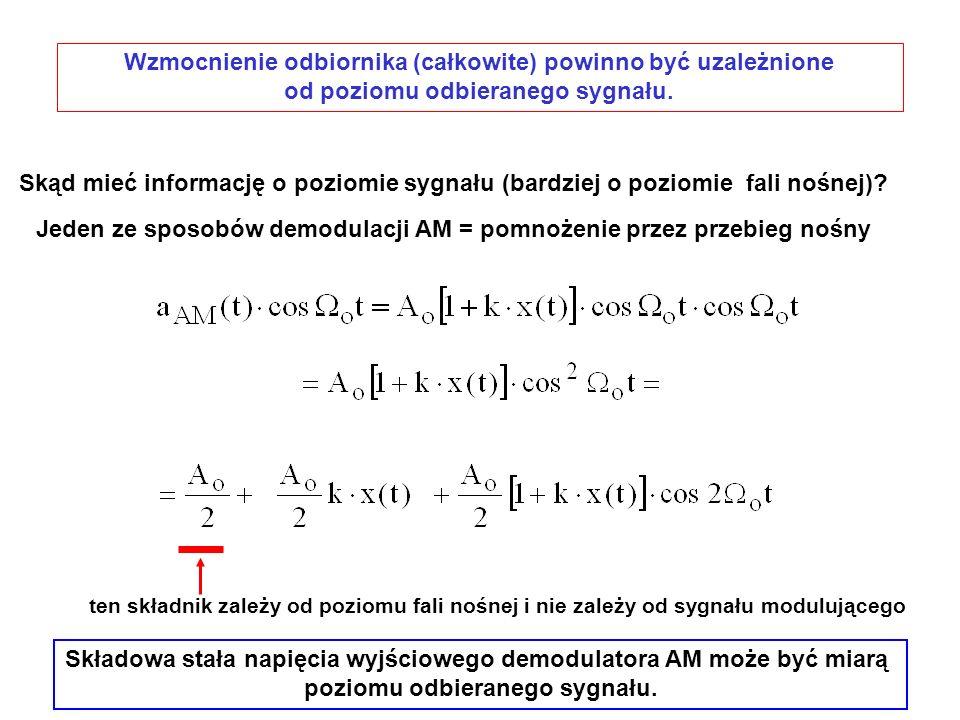 Skąd mieć informację o poziomie sygnału (bardziej o poziomie fali nośnej)? Jeden ze sposobów demodulacji AM = pomnożenie przez przebieg nośny ten skła