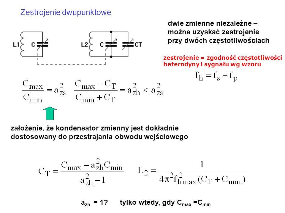 założenie, że kondensator zmienny jest dokładnie dostosowany do przestrajania obwodu wejściowego Zestrojenie dwupunktowe dwie zmienne niezależne – moż