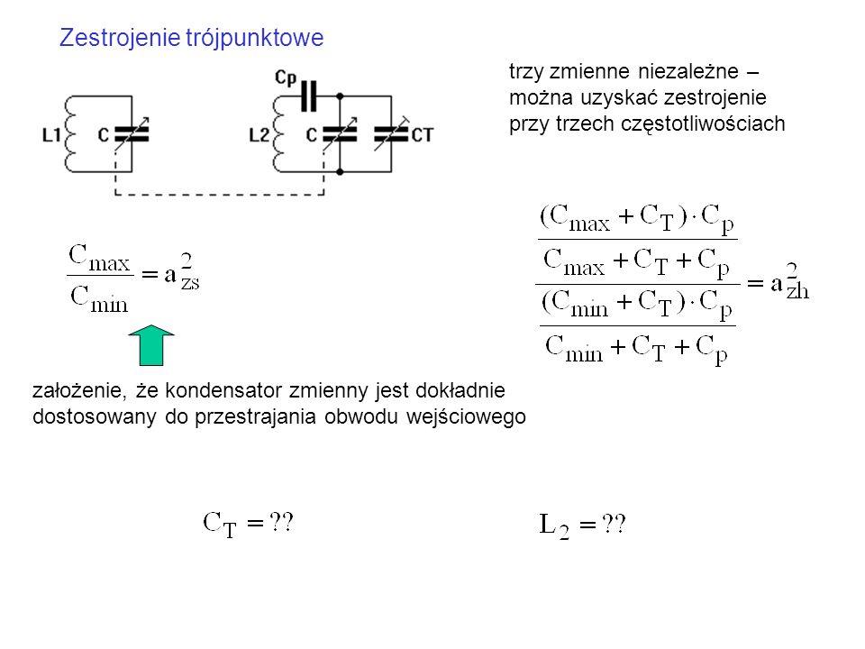 Zestrojenie trójpunktowe trzy zmienne niezależne – można uzyskać zestrojenie przy trzech częstotliwościach założenie, że kondensator zmienny jest dokł