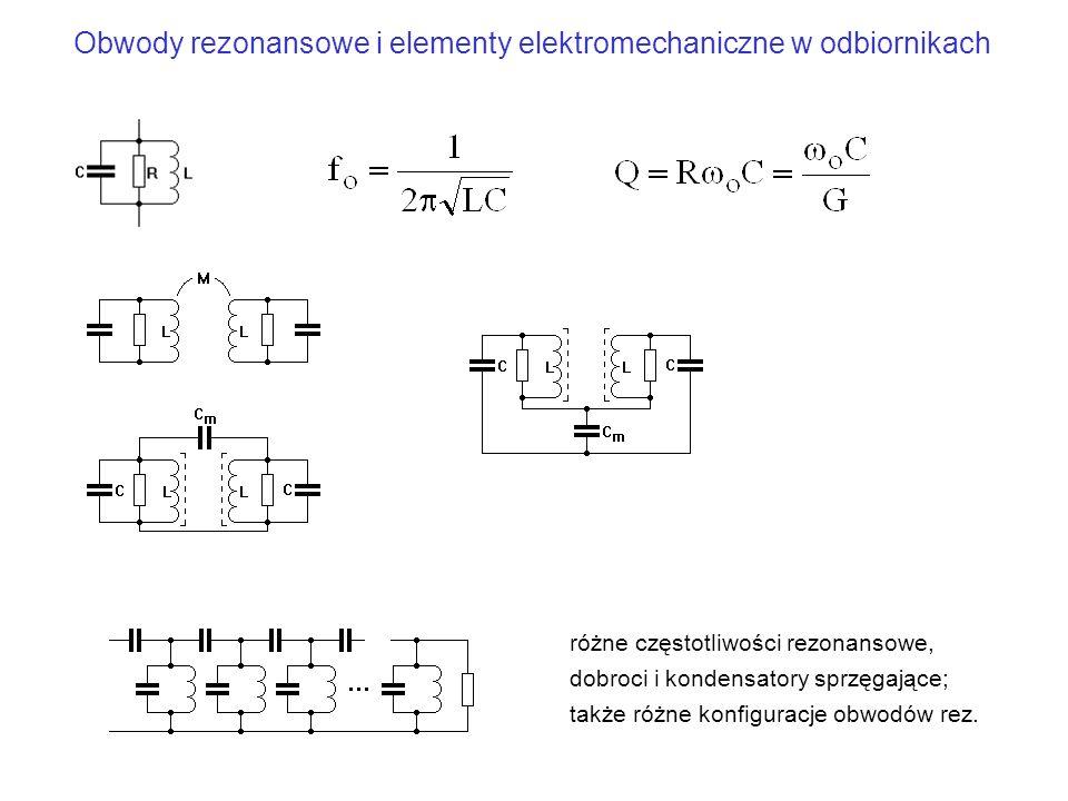 Obwody rezonansowe i elementy elektromechaniczne w odbiornikach różne częstotliwości rezonansowe, dobroci i kondensatory sprzęgające; także różne konf