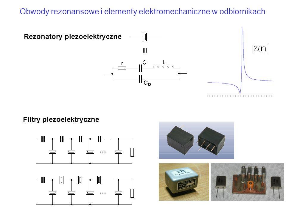 Rezonatory piezoelektryczne Filtry piezoelektryczne Obwody rezonansowe i elementy elektromechaniczne w odbiornikach
