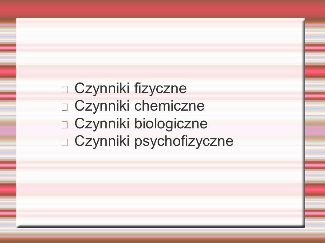 Czynniki fizyczne Czynniki chemiczne Czynniki biologiczne Czynniki psychofizyczne
