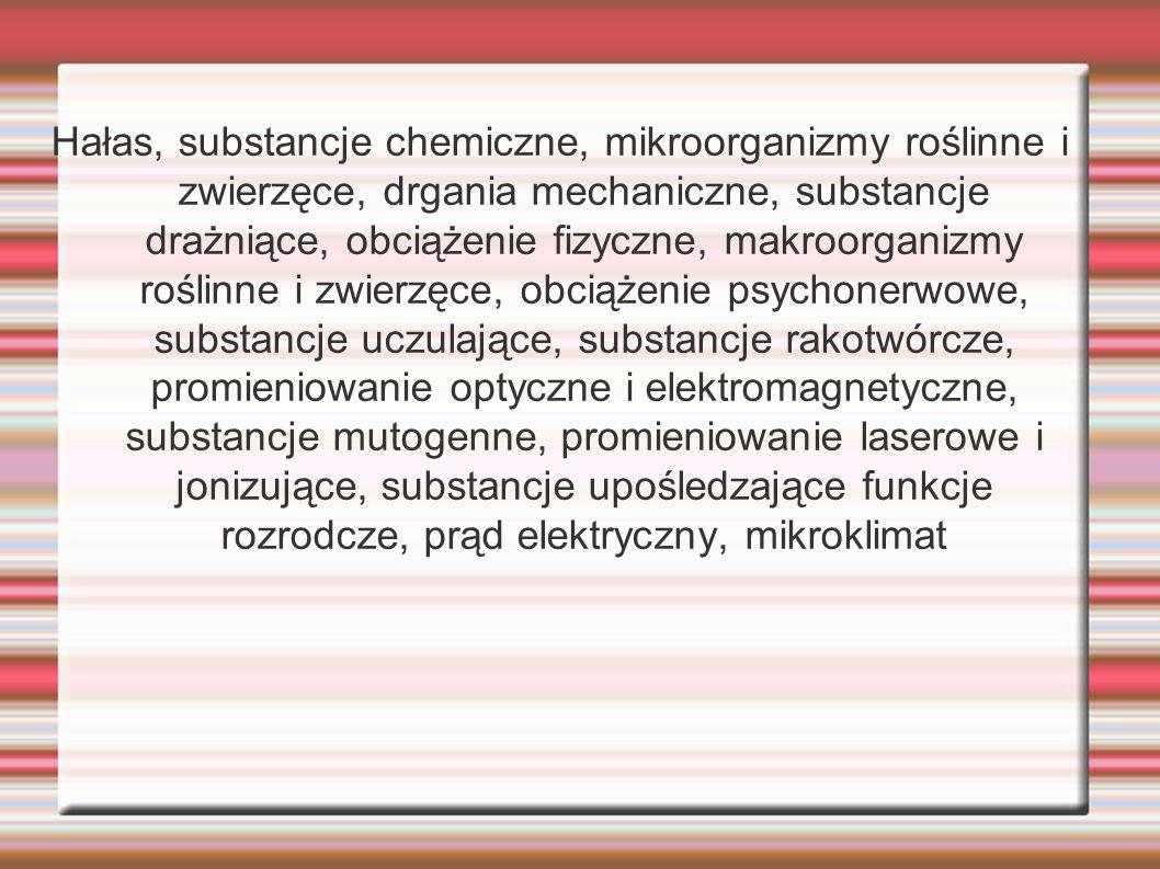 Hałas, substancje chemiczne, mikroorganizmy roślinne i zwierzęce, drgania mechaniczne, substancje drażniące, obciążenie fizyczne, makroorganizmy rośli