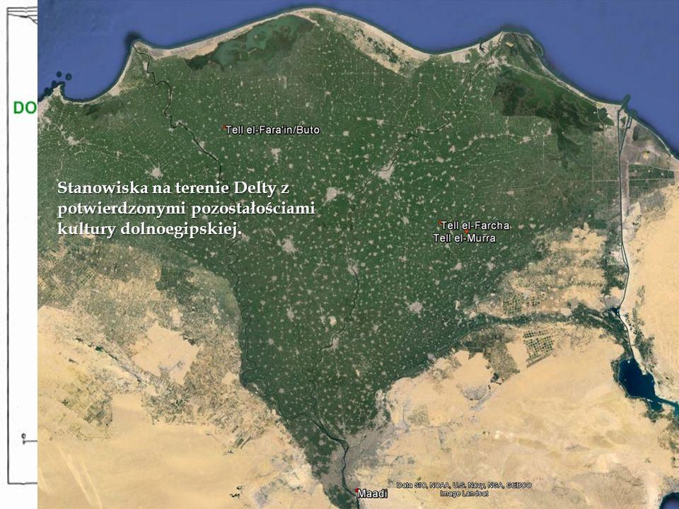 Stanowiska na terenie Delty z potwierdzonymi pozostałościami kultury dolnoegipskiej.
