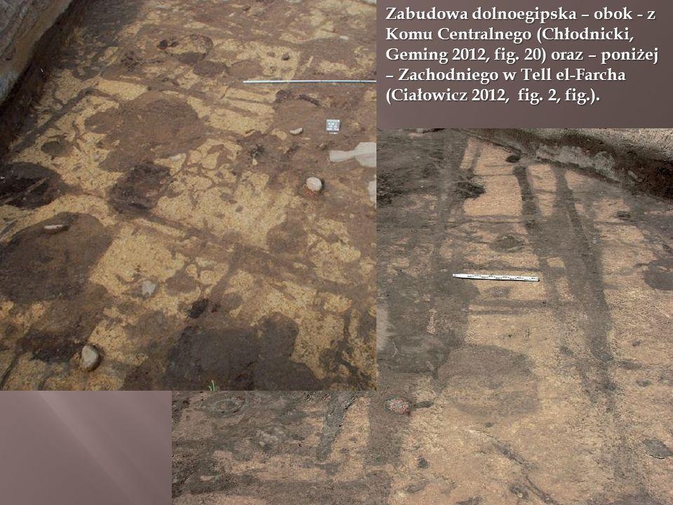 Zabudowa dolnoegipska – obok - z Komu Centralnego (Chłodnicki, Geming 2012, fig. 20) oraz – poniżej – Zachodniego w Tell el-Farcha (Ciałowicz 2012, fi