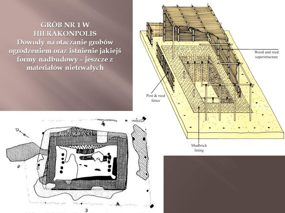 GRÓB NR 1 W HIERAKONPOLIS Dowody na otaczanie grobów ogrodzeniem oraz istnienie jakiejś formy nadbudowy – jeszcze z materiałów nietrwałych