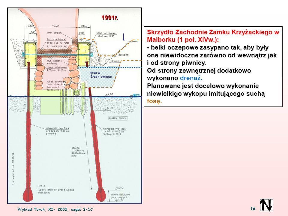 Wykład Toruń, XI- 2005, część 3-1C 16 Skrzydło Zachodnie Zamku Krzyżackiego w Malborku (1 poł. XIVw.): - belki oczepowe zasypano tak, aby były one nie