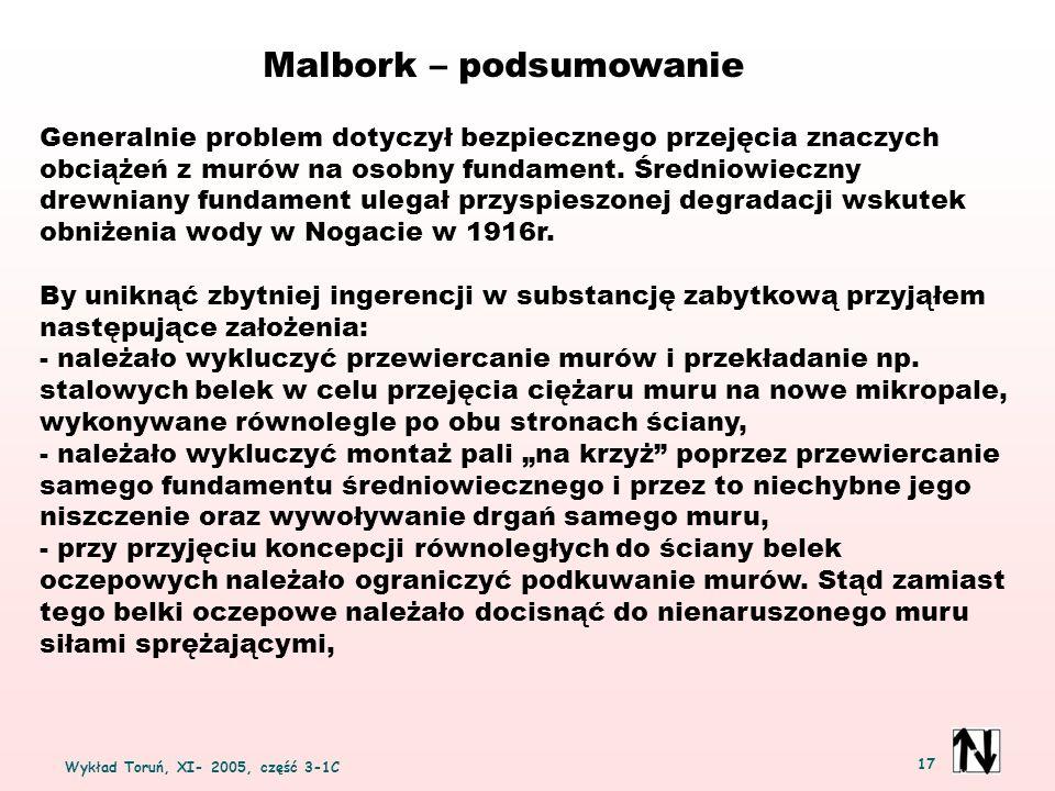 Wykład Toruń, XI- 2005, część 3-1C 17 Malbork – podsumowanie Generalnie problem dotyczył bezpiecznego przejęcia znaczych obciążeń z murów na osobny fundament.