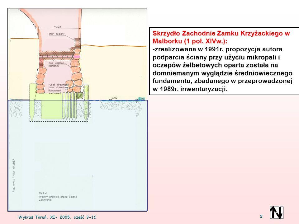 2 Skrzydło Zachodnie Zamku Krzyżackiego w Malborku (1 poł. XIVw.): przy użyciu mikropali i oczepów żelbetowych oparta została na domniemanym wyglądzie