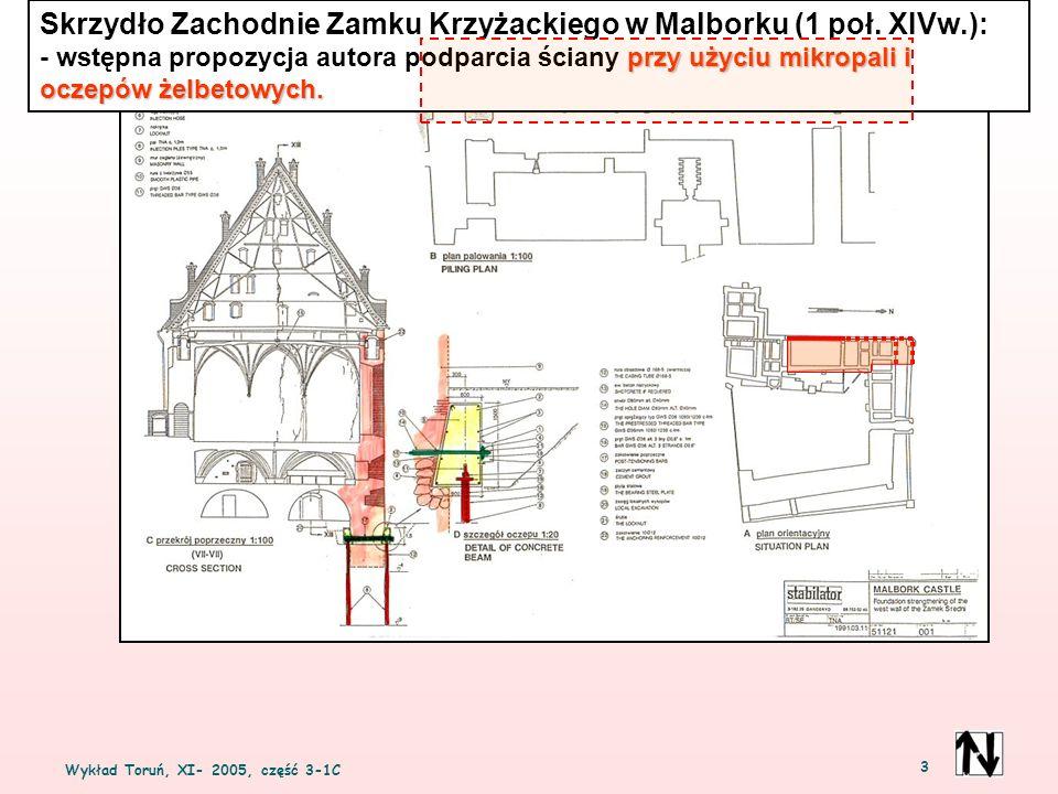 Wykład Toruń, XI- 2005, część 3-1C 3 Skrzydło Zachodnie Zamku Krzyżackiego w Malborku (1 poł. XIVw.): przy użyciu mikropali i oczepów żelbetowych. - w