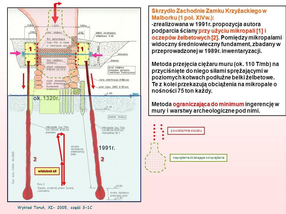 Wykład Toruń, XI- 2005, część 3-1C 4 Skrzydło Zachodnie Zamku Krzyżackiego w Malborku (1 poł. XIVw.): przy użyciu mikropali [1] i oczepów żelbetowych