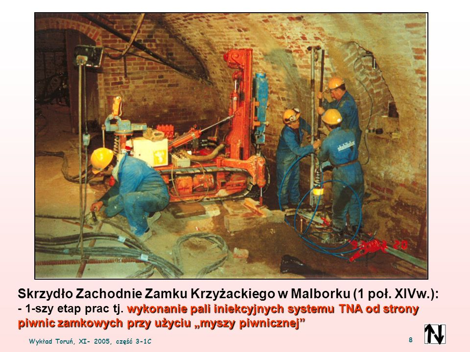 Wykład Toruń, XI- 2005, część 3-1C 8 Skrzydło Zachodnie Zamku Krzyżackiego w Malborku (1 poł. XIVw.): wykonanie pali iniekcyjnych systemu TNA od stron
