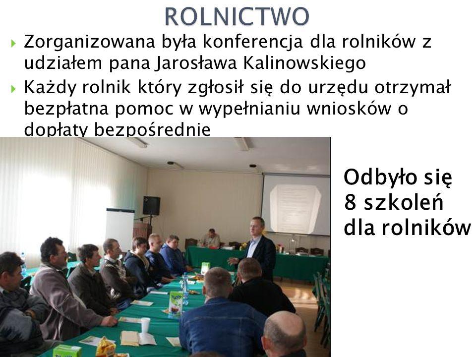  Zorganizowana była konferencja dla rolników z udziałem pana Jarosława Kalinowskiego  Każdy rolnik który zgłosił się do urzędu otrzymał bezpłatna pomoc w wypełnianiu wniosków o dopłaty bezpośrednie Odbyło się 8 szkoleń dla rolników