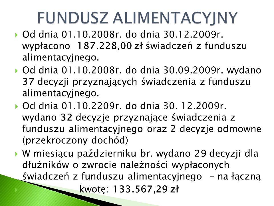  Od dnia 01.10.2008r. do dnia 30.12.2009r. wypłacono 187.228,00 zł świadczeń z funduszu alimentacyjnego.  Od dnia 01.10.2008r. do dnia 30.09.2009r.