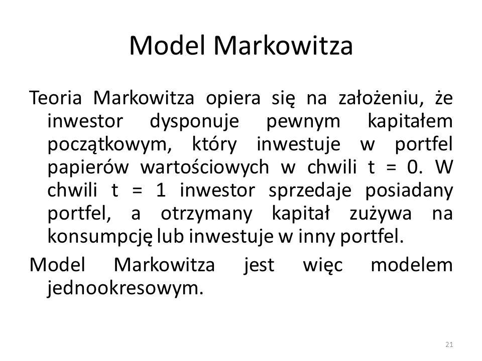 Model Markowitza Teoria Markowitza opiera się na założeniu, że inwestor dysponuje pewnym kapitałem początkowym, który inwestuje w portfel papierów wartościowych w chwili t = 0.