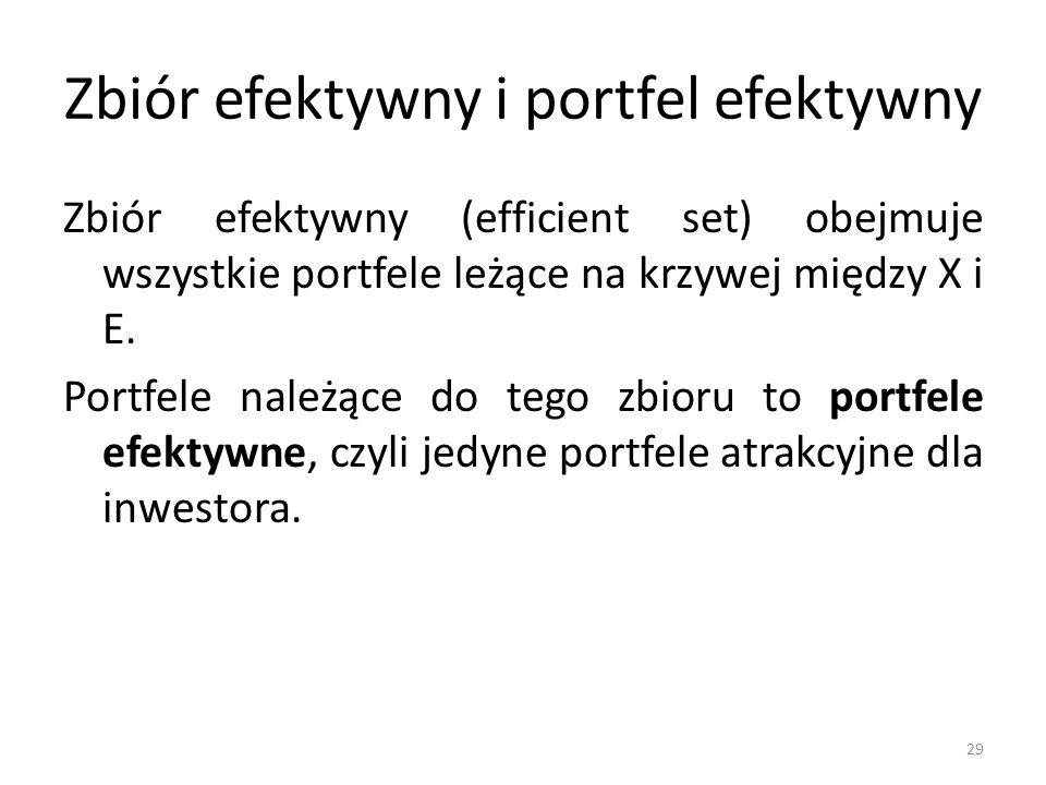 Zbiór efektywny i portfel efektywny Zbiór efektywny (efficient set) obejmuje wszystkie portfele leżące na krzywej między X i E.