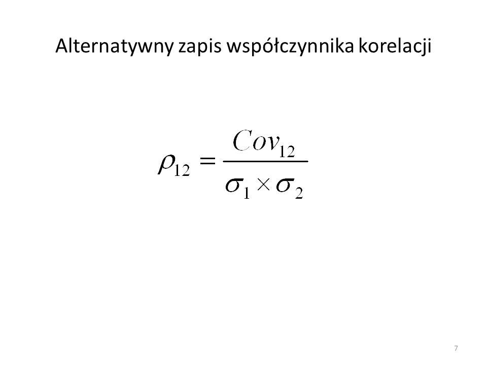 Alternatywny zapis współczynnika korelacji 7