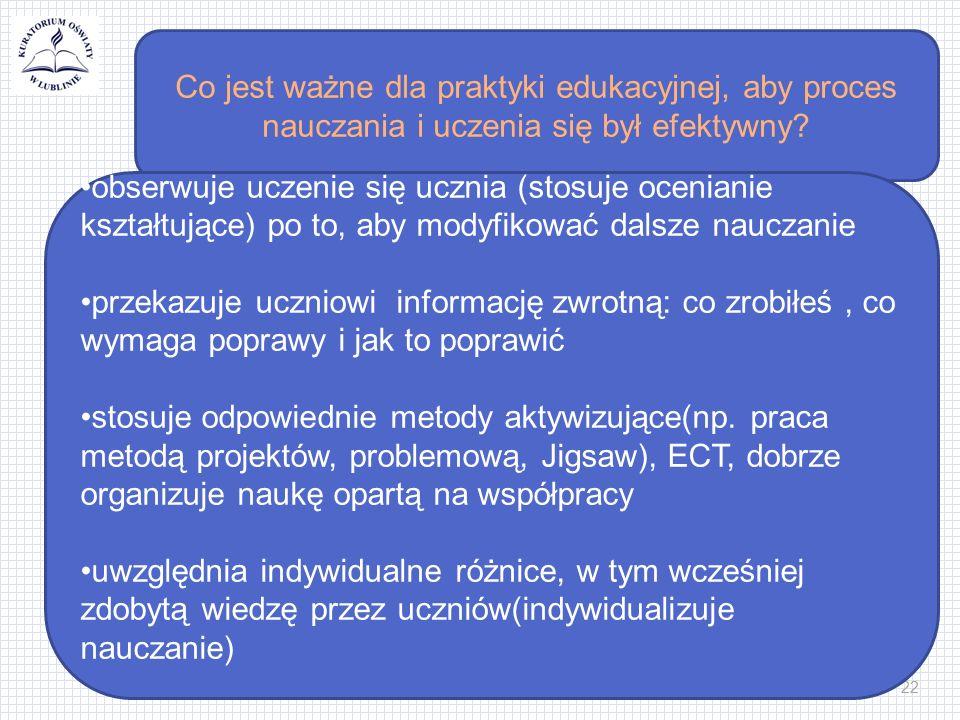 22 Co jest ważne dla praktyki edukacyjnej, aby proces nauczania i uczenia się był efektywny.
