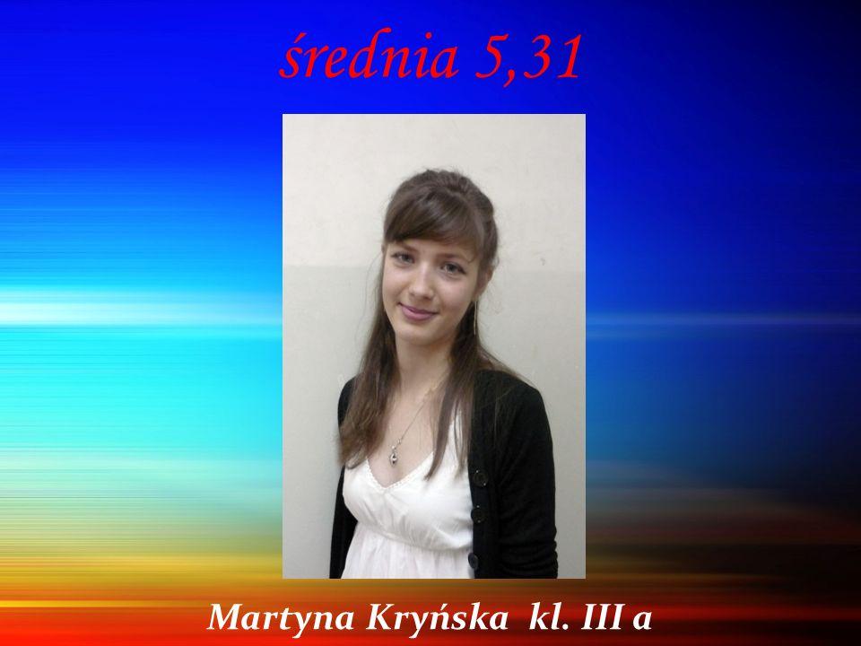 średnia 5,31 Martyna Kryńska kl. III a