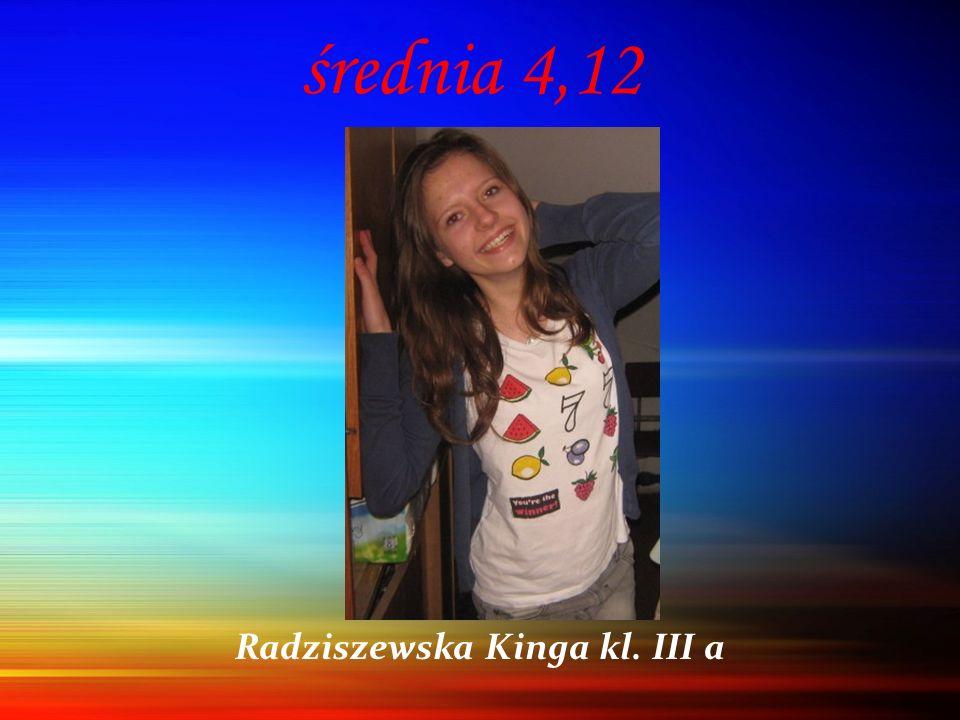średnia 4,12 Radziszewska Kinga kl. III a