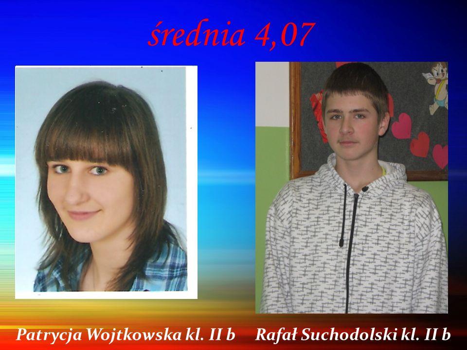 średnia 4,07 Patrycja Wojtkowska kl. II b Rafał Suchodolski kl. II b