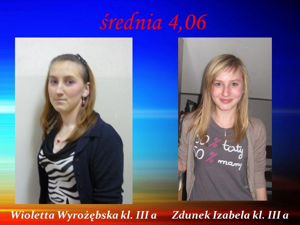 średnia 4,06 Wioletta Wyrożębska kl. III a Zdunek Izabela kl. III a