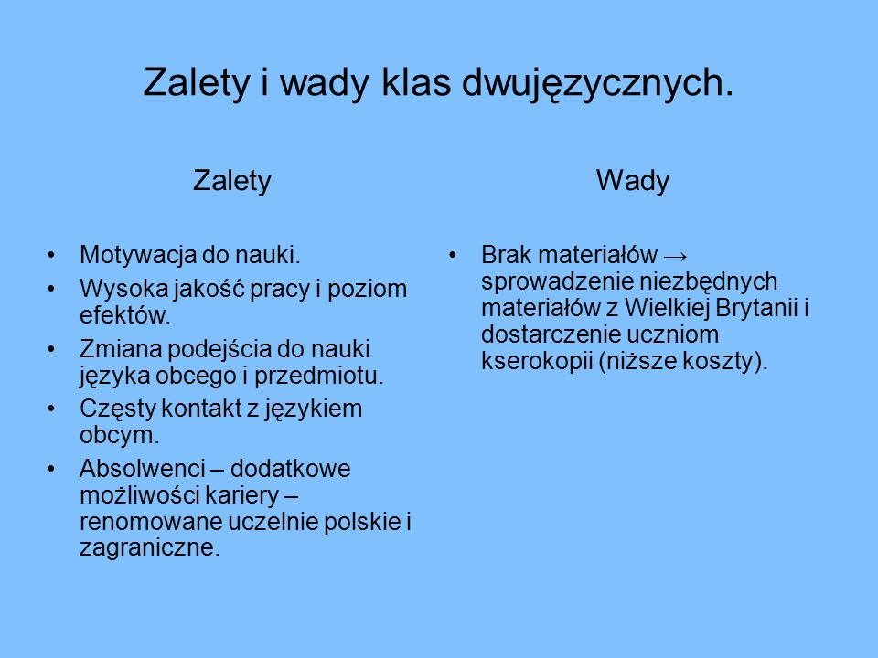 Zalety i wady klas dwujęzycznych. Zalety Motywacja do nauki.