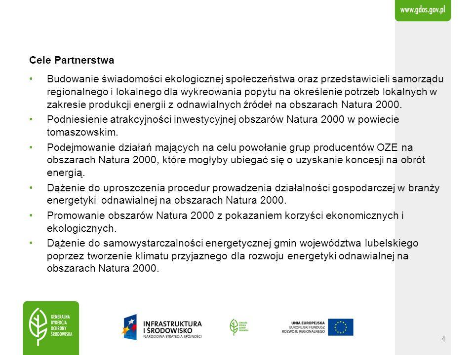 Cele Partnerstwa Budowanie świadomości ekologicznej społeczeństwa oraz przedstawicieli samorządu regionalnego i lokalnego dla wykreowania popytu na określenie potrzeb lokalnych w zakresie produkcji energii z odnawialnych źródeł na obszarach Natura 2000.