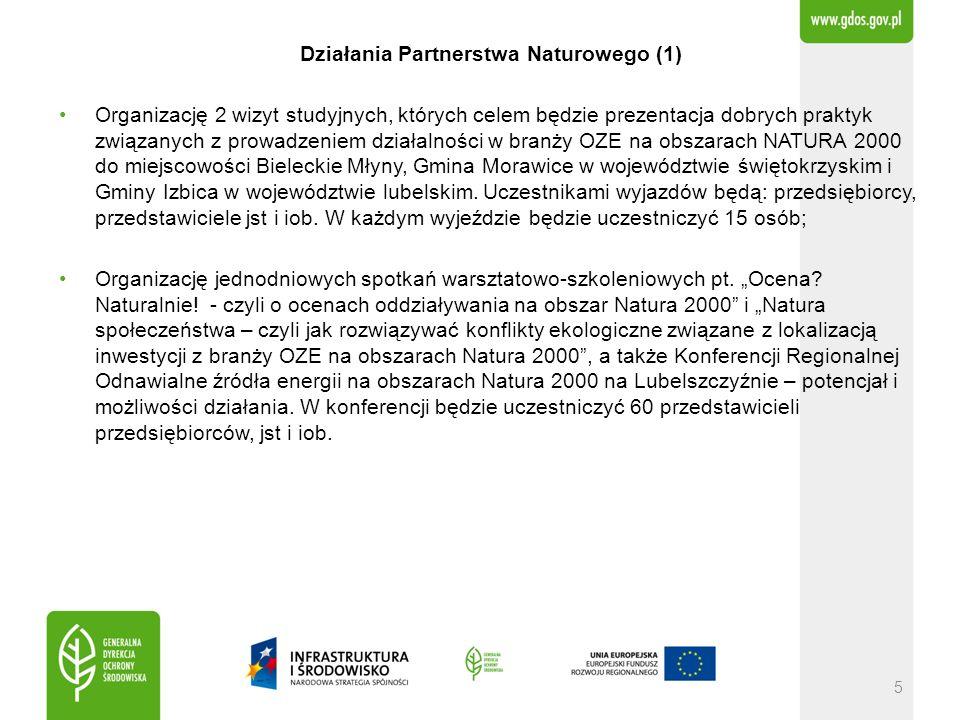 Działania Partnerstwa Naturowego (1) Organizację 2 wizyt studyjnych, których celem będzie prezentacja dobrych praktyk związanych z prowadzeniem działalności w branży OZE na obszarach NATURA 2000 do miejscowości Bieleckie Młyny, Gmina Morawice w województwie świętokrzyskim i Gminy Izbica w województwie lubelskim.