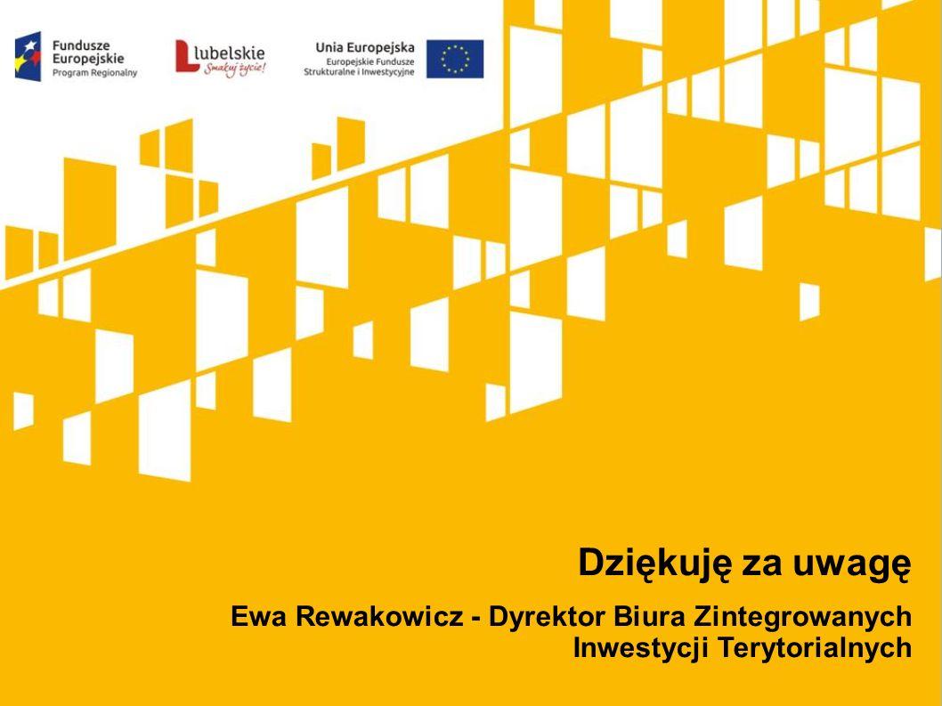 Dziękuję za uwagę Ewa Rewakowicz - Dyrektor Biura Zintegrowanych Inwestycji Terytorialnych