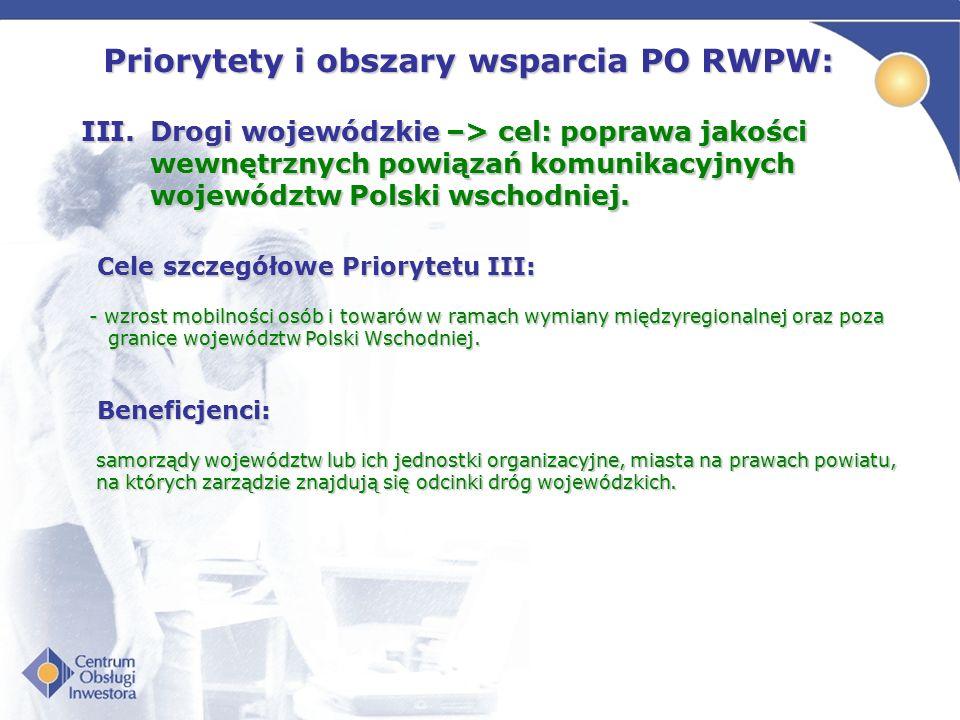 Priorytety i obszary wsparcia PO RWPW: III.Drogi wojewódzkie –> cel: poprawa jakości wewnętrznych powiązań komunikacyjnych województw Polski wschodniej.