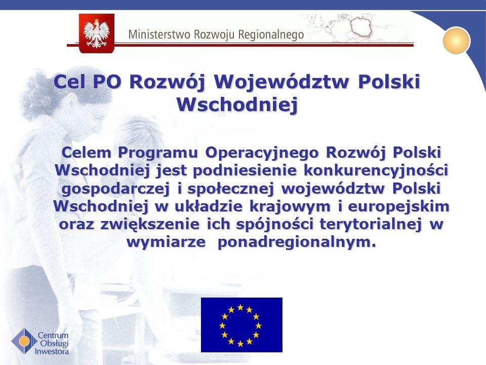 Celem Programu Operacyjnego Rozwój Polski Wschodniej jest podniesienie konkurencyjności gospodarczej i społecznej województw Polski Wschodniej w układzie krajowym i europejskim oraz zwiększenie ich spójności terytorialnej w wymiarze ponadregionalnym.