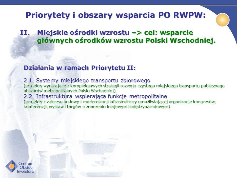 Priorytety i obszary wsparcia PO RWPW: II.Miejskie ośrodki wzrostu –> cel: wsparcie głównych ośrodków wzrostu Polski Wschodniej. 2.1. Systemy miejskie