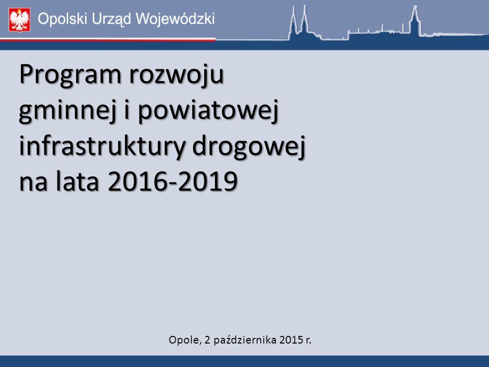Program rozwoju gminnej i powiatowej infrastruktury drogowej na lata 2016-2019 Opole, 2 października 2015 r.