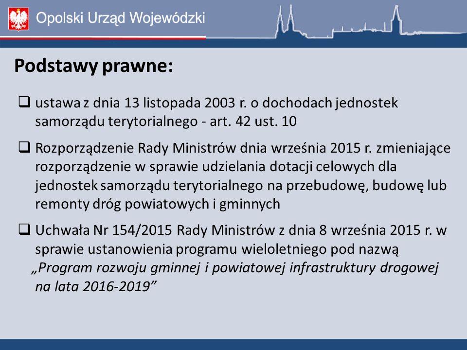 Podstawy prawne:  ustawa z dnia 13 listopada 2003 r.