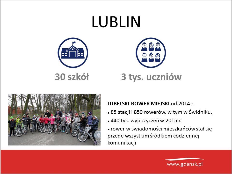 LUBLIN 30 szkół 3 tys. uczniów LUBELSKI ROWER MIEJSKI od 2014 r.