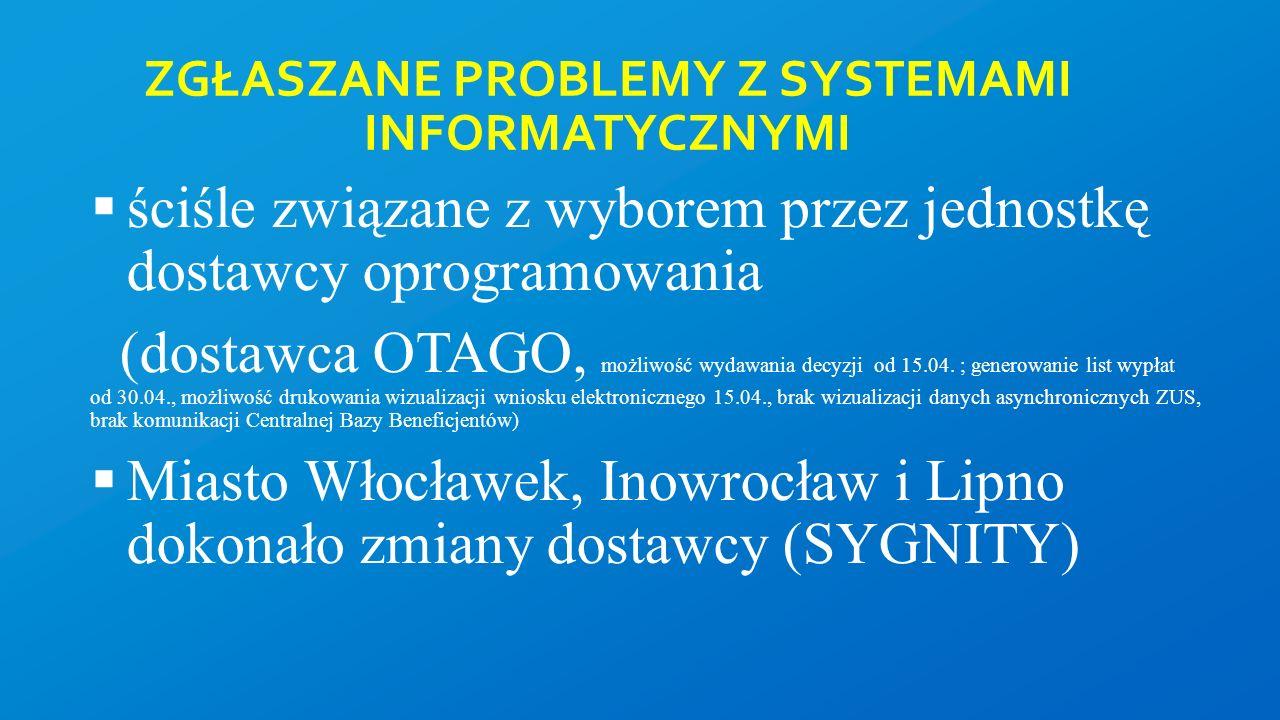ZGŁASZANE PROBLEMY Z SYSTEMAMI INFORMATYCZNYMI  ściśle związane z wyborem przez jednostkę dostawcy oprogramowania (dostawca OTAGO, możliwość wydawania decyzji od 15.04.