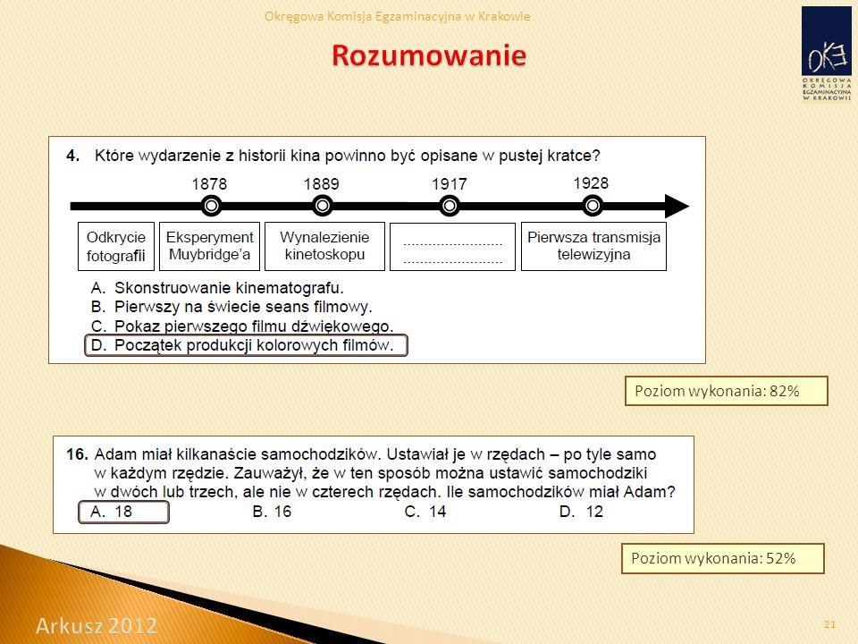 Okręgowa Komisja Egzaminacyjna w Krakowie 21 Poziom wykonania: 52% Poziom wykonania: 82%
