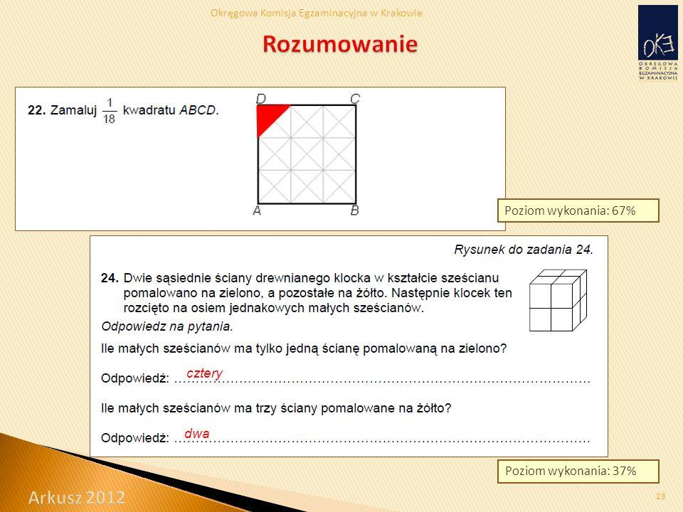 Okręgowa Komisja Egzaminacyjna w Krakowie 23 Poziom wykonania: 67% Poziom wykonania: 37% cztery dwa