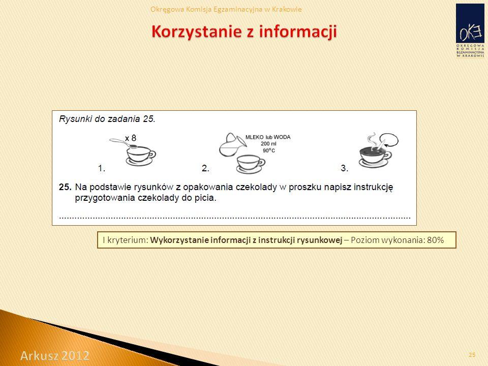 Okręgowa Komisja Egzaminacyjna w Krakowie 25 I kryterium: Wykorzystanie informacji z instrukcji rysunkowej – Poziom wykonania: 80%
