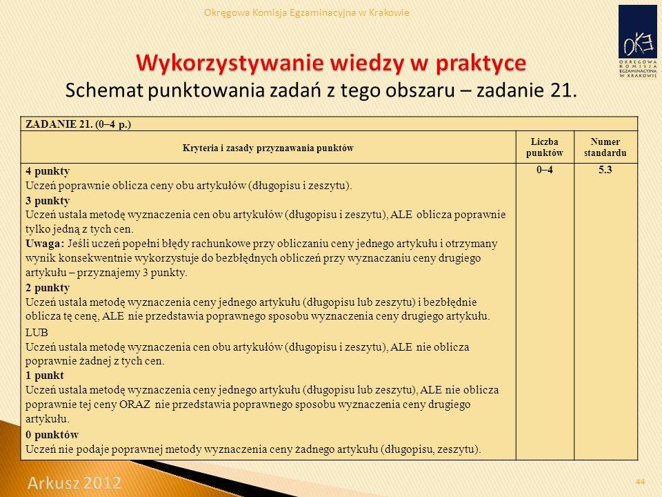Okręgowa Komisja Egzaminacyjna w Krakowie Schemat punktowania zadań z tego obszaru – zadanie 21.