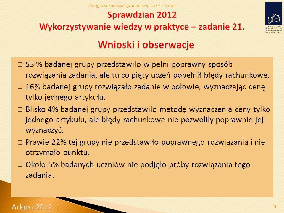 Okręgowa Komisja Egzaminacyjna w Krakowie  53 % badanej grupy przedstawiło w pełni poprawny sposób rozwiązania zadania, ale tu co piąty uczeń popełnił błędy rachunkowe.