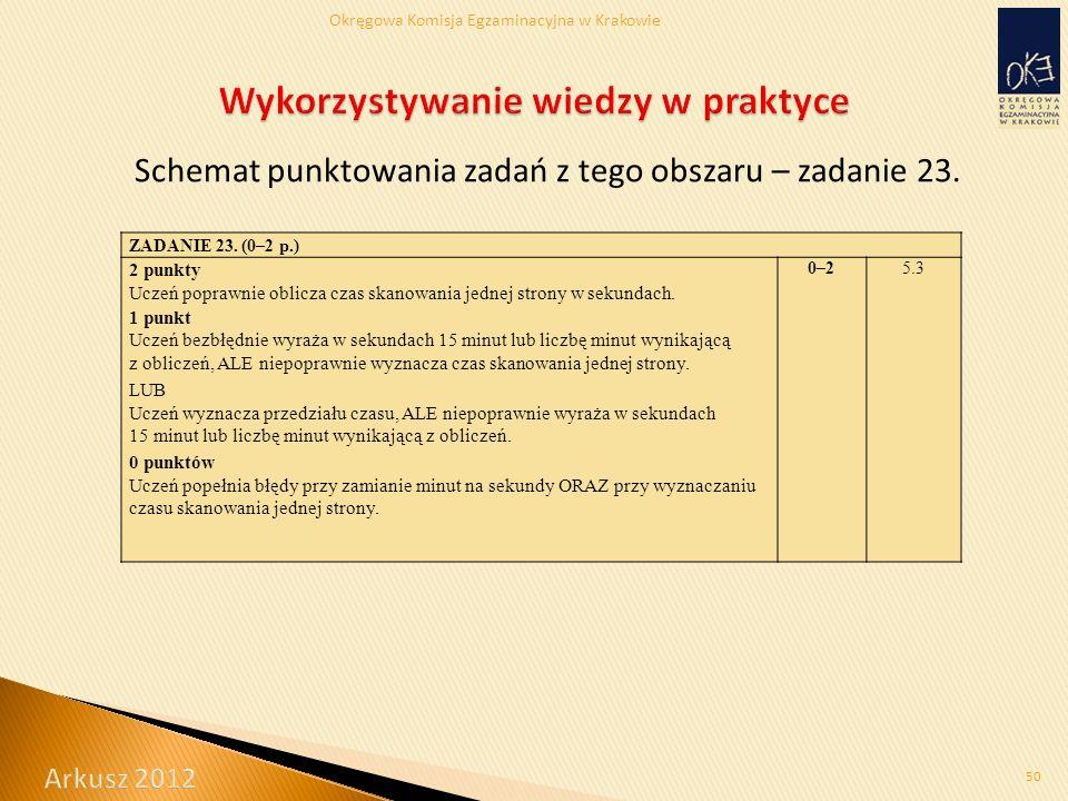 Okręgowa Komisja Egzaminacyjna w Krakowie Schemat punktowania zadań z tego obszaru – zadanie 23.