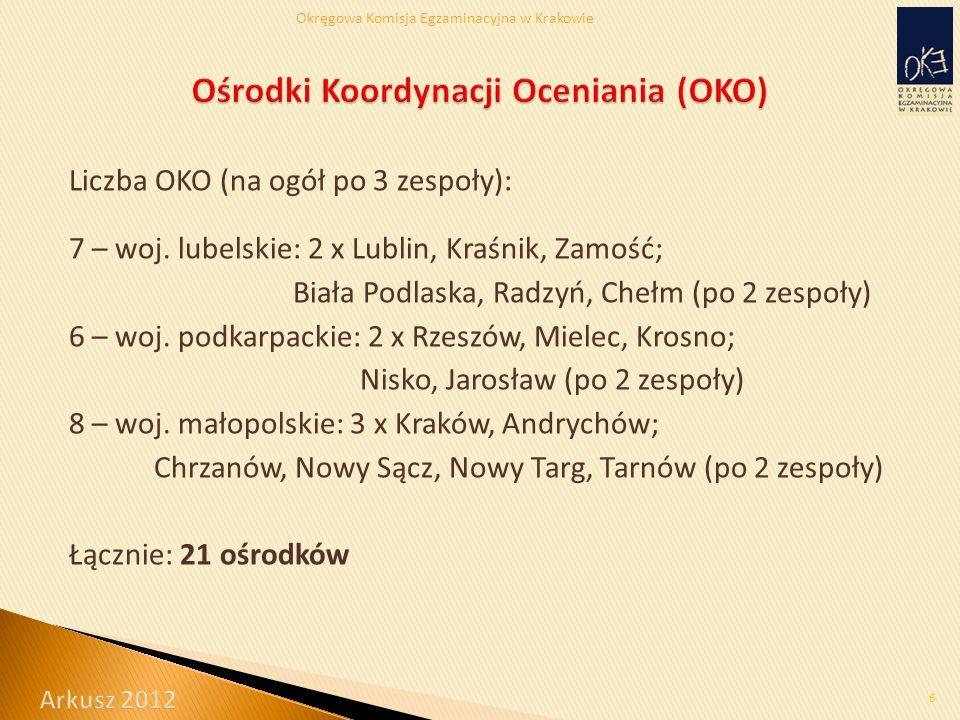 Okręgowa Komisja Egzaminacyjna w Krakowie Liczba OKO (na ogół po 3 zespoły): 7 – woj.