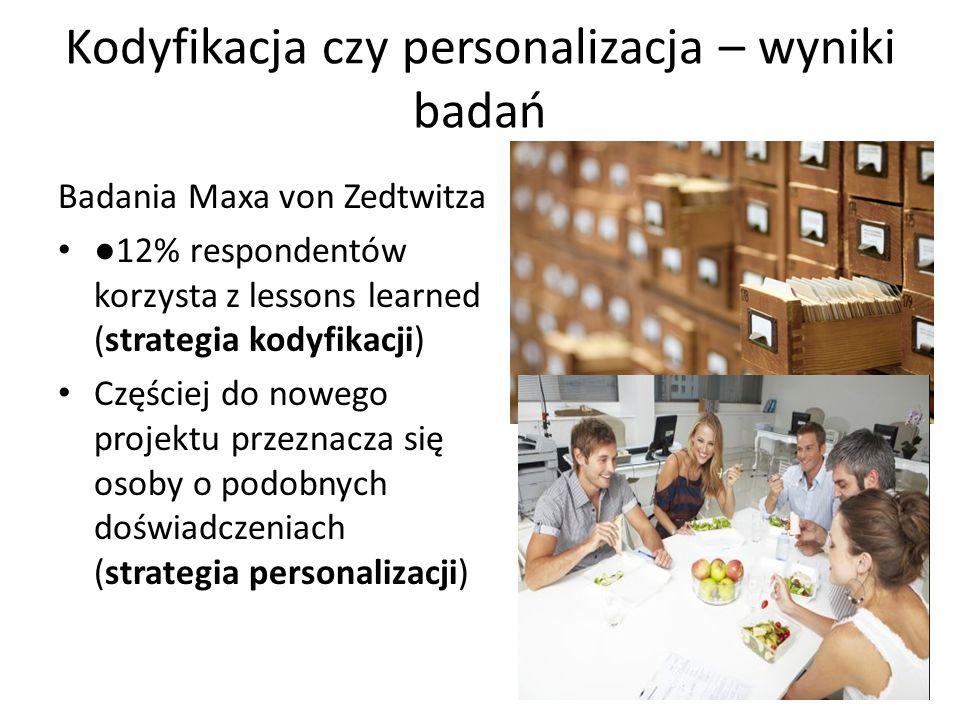 Kodyfikacja czy personalizacja – wyniki badań Badania Maxa von Zedtwitza ●12% respondentów korzysta z lessons learned (strategia kodyfikacji) Częściej do nowego projektu przeznacza się osoby o podobnych doświadczeniach (strategia personalizacji)